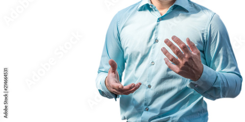 Fototapeta Körpersprache eines Geschäftsmannes bei einer Geschäftspräsentation