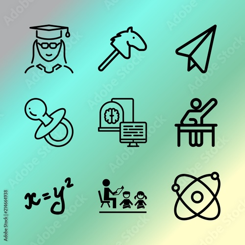 Vector icon set about education with 9 icons related to template, activity, scientist, concept, system, light, men, desk, paper and animal Wall mural