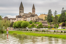 Tournus France As Seen From A Riverboat Cruising On The Saone River
