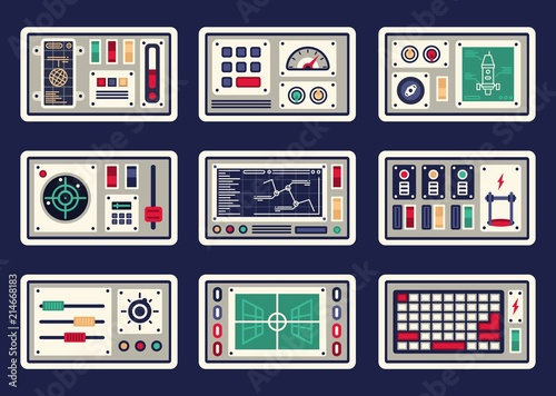 Vászonkép Different control panels, consoles, buttons and devices, radar for spacecraft