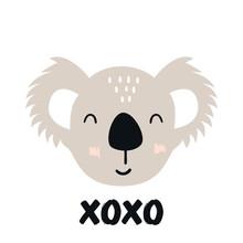 Xo Xo - Cute Hand Drawn Nursery Poster With Cartoon Koala Animal Character And Lettering