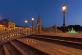Fototapeta Big Ben - Night view of the Plaza de Espana in Seville, Andalusia,Spain