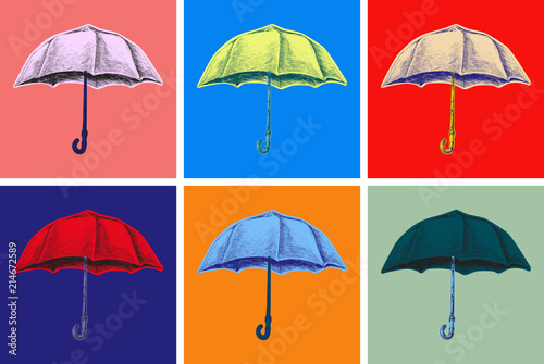 Recess Fitting Pop Art Umbrella Hand Drawing Vector Illustration. Pop Art Style.