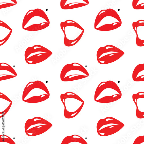 Repeating Seamless Pattern of Red Lips on White Background Canvas Print