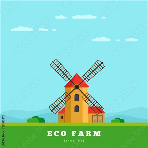 Tuinposter Lichtblauw Eco farm concept