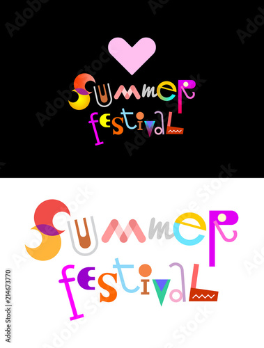 Staande foto Abstractie Art Summer Festival text design