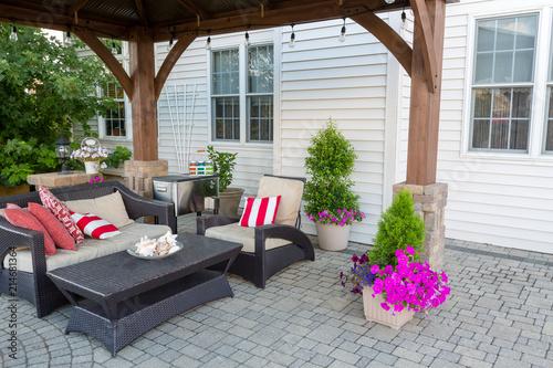 Vászonkép  Outdoor living space on a brick patio