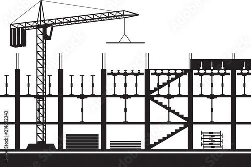 Fototapeta Construction of scaffolding for concrete slab - vector illustration