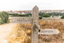 Footpath Signpost In English Countryside, UK