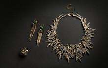 Nature Inspired Jewelry Set On Dark Background
