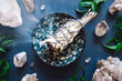 canvas print picture - Burning Smudge with Quartz on Blue Table