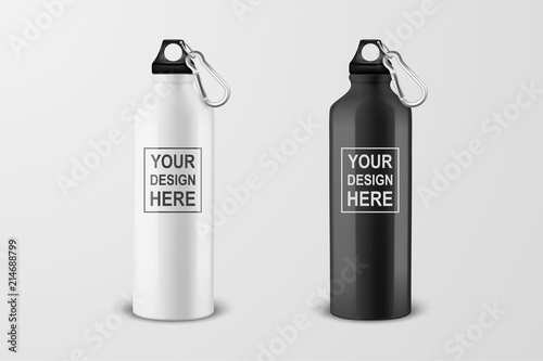 Fototapeta Vector realistic 3d white and black empty glossy metal water bottle with black bung icon set closeup on white background. Design template of packaging mockup for graphics. Front view obraz