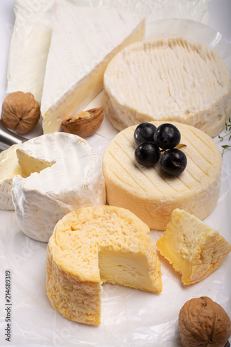 Foto op Aluminium Assortiment French AOC soft cow cheeses, crumbly Langres with washed rind st
