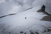 Hiking Trough The Snow On The ...