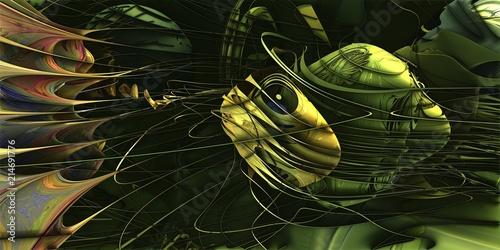 Fotografie, Obraz  Liquid explosion abstract artwork, yellow and green blobs with liquid splash illustration