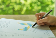 Business, Investment Or Financial Report Review, Hand Holding Pen Reviewing Bar Graph Information Data Print On Paper With Green Bokeh In The Background