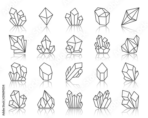 Photo Crystal simple black line icons vector set