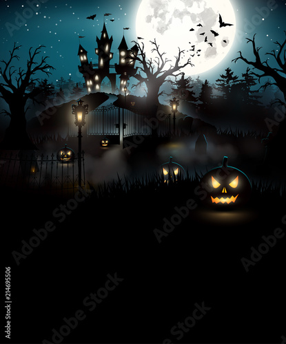 Foto op Canvas Zwart Scary graveyard and castle in the woods