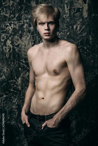 Fotobehang Akt fair-haired naked man