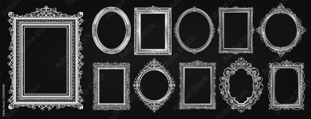 Fotografia Set of invitation royal frame photo design and Gold oval floral frame