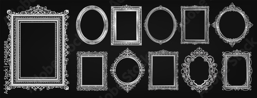 Αφίσα  Set of invitation royal frame photo design and Gold oval floral frame