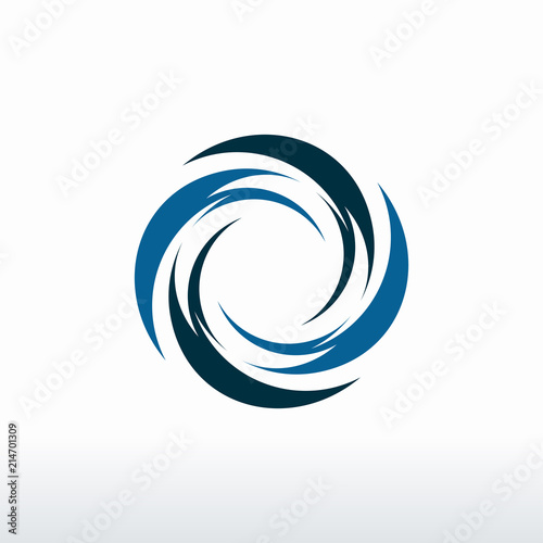 Fotografie, Obraz  Circle Blue Tornado logo symbol isolated, Abstract Hurricane Logo Symbol, Typhoo