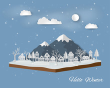 Isometric Landscape With Countryside In Winter Season,abstract Paper Art Design With White Village On Soft Blue Background