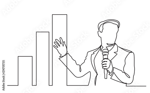 continuous line drawing of business presentation - business coach showing increasing chart