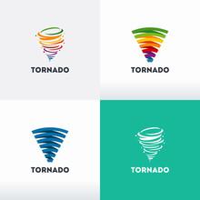 Set Of Tornado Logo Symbol Isolated, Abstract Hurricane Logo Symbol, Typhoon Vector Illustration