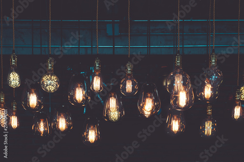 Photo  Beautiful vintage luxury light lamp hanging decor glowing in dark