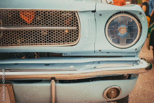 Spoed Foto op Canvas Vintage cars Headlight lamp of vintage car - vehicles vintage classic style. retro film color filter effect.