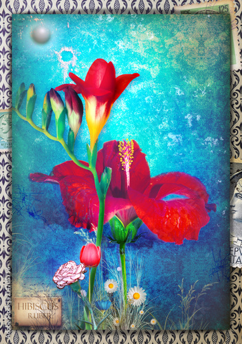 Background blue with freesia, tulip, carnation, dayy and hibiscus flowers.