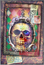 Esoteric And Dark Collage With Scraps And Skull