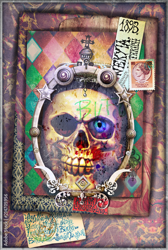Foto op Aluminium Imagination Esoteric and dark collage with scraps and skull
