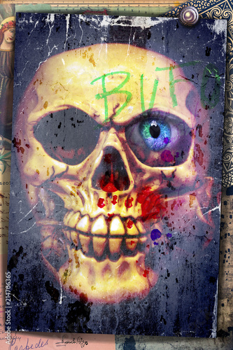 Poster Imagination Nightmares. Graffiti with skull