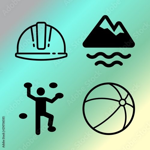 Foto op Canvas Groene koraal Vector icon set about fitness and sport with 4 icons related to risk, round, black, hand and transportation
