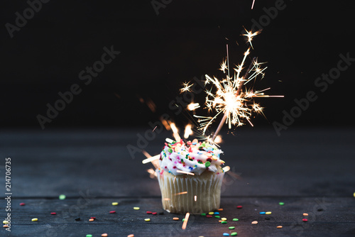 Photo  Cupcake with Sparkler