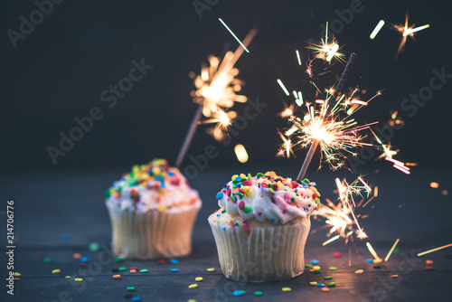 two cupcakes with sparklers Canvas Print