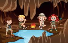 Children Having A Campire In A Cave