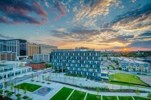 Eager Park and Johns Hopkins Hospital at sunset, in Baltimore, Maryland - 214712394