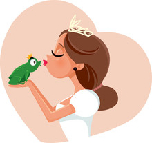 Cute Princess Kissing Prince F...