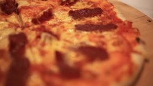 Cutting Italian Pizza With Mushrooms, Salami And Cheese. Close Up. HD. 1920x1080