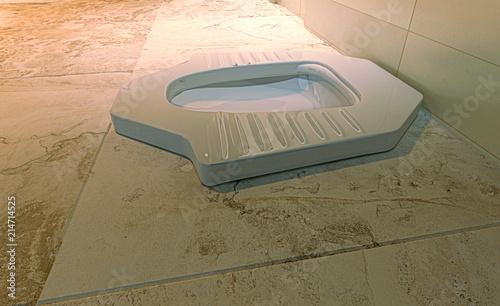 Bagno Turco Wc.Toilette Per Uomo Con Turca Wc Rendering 3d Bagni