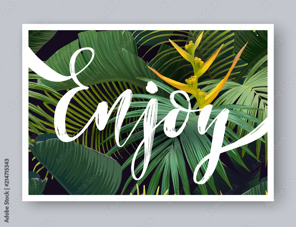 b594f0ad85 Fotografía Summer tropical vector design for banner or flyer with dark  green palm leaves, exotic flowers and lettering | Europosters.es