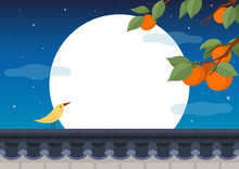 Full Moon Night. Persimmon Tree With Bird On Traditional Korean Style Stone Wall Fence.Mid Autumn Festival