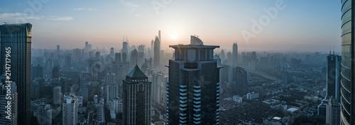фотография  aerial view of shanghai city in foggy dawn