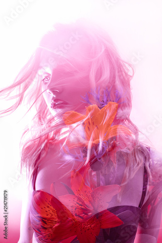 Woman with flowers inside, double exposure Canvas Print