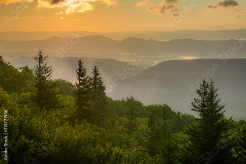 Sunrise view from Bear Rocks Preserve in Dolly Sods Wilderness, Monongahela National Forest, West Virginia Canvas Print