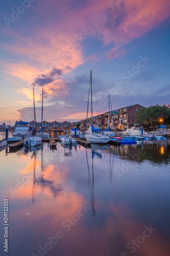 Sunset over boats on the waterfront in Canton, Baltimore, Maryland Wallpaper Mural