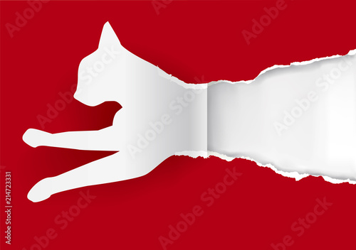 Paper cat silhouette ripping paper Canvas Print